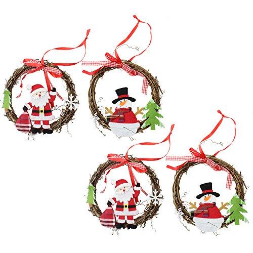 com-four 4X XL Ciondolo in Legno Set Corona di Rattan da Appendere, con Figure di Feltro di Babbo Natale e Pupazzo di Neve, Fiocco in Tessuto e Nastro di Seta Grande Decorazione Natalizia
