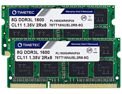 Timetec 16GB KIT(2x8GB) DDR3L / DDR3 1600MHz PC3L-12800 / PC3-12800 Non-ECC Unbuffered 1.35V / 1.5V CL11 2Rx8 Dual Rank 204 Pin SODIMM Laptop Notebook Computer Memory RAM Module Upgrade