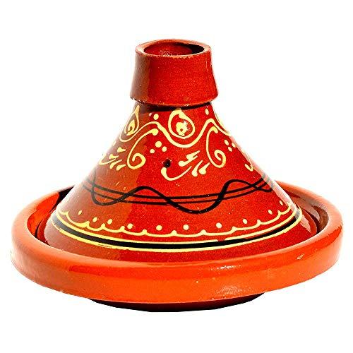 Tajín marroquí redondo, diámetro de 22 cm, esmaltado, para cocinar 1-2 personas, olla de arcilla, cazuela hecha a mano Marrakech marroquí, oriental, árabe, arcilla libre de sustancias nocivas