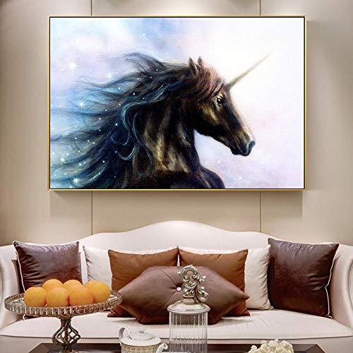 Cuadro En Lienzo Unicornio Negro En El Espacio Pinturas Murales Impresión En Lienzo Estampados De Arte Caballos Negros Posters Hogar Arte Decorativo De La Pared Imágenes 50Cmx70Cm