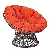 CIN&GO Columpio de Hamaca para Interiores y Exteriores, jardín, terraza, cojín para Colgar Huevos, cojín para Silla Grueso Redondo, Impermeable, 120 cm, Naranja