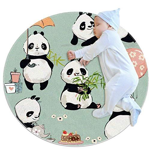AIBILI Mikrofaser-Teppich, rutschfest, maschinenwaschbar, rund, für Wohnzimmer, Schlafzimmer, Arbeitszimmer, weich, 70 x 70 cm, grüner Panda Lifestyle, Green Panda Lifestyle, 70x70cm/27.6x27.6IN