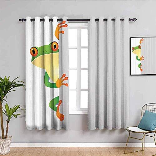 Nileco Cortinas Opacas Termicas - Blanco dibujos animados rana simple - 280x160 cm - Cortinas del Dormitorio de la Habitación de los Niños - 3D Impresión Digital con Ojales Aislamiento Térmico
