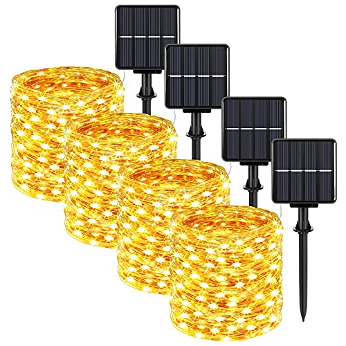 Extra-Long 288FT Solar Fairy String Lights, 4-Pack Each 72FT 200 LED Outdoor Twinkle Lights Waterproof, 8 Lighting Modes, Warm White Copper Wire Lights for Deck Backyard Tree Garden Fence Pool Party