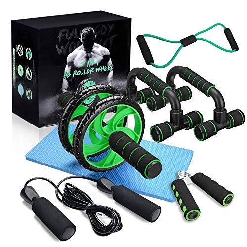 gracosy Sports Ab Roller Wheel, 7-in-1 Ab Roller Kit with Jump Rope Yoga Mat Resistance Bands Pad Push Up Bars Handles Grips Home Workout Equipment Core and Abdominal Trainers for Men