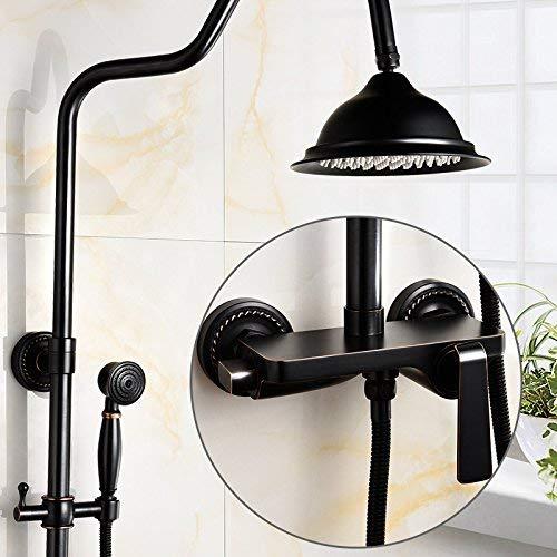 Duscharmatur schwarz Antik Messing Armaturen Voll verpackt Retro-Dusche MIXER Thermostat-Duschen mit Frauen waschen, verstecken das Wasser aus