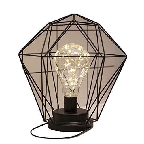 YILUXIANG Lámpara de Mesa de Alambre de Metal Negro, Arte Retro, Hierro Industrial, Luces LED, Bombillas para Sala de Estar, Dormitorio, mesita de Noche 4