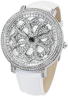 [ブルッキアーナ]BROOKIANA メンズ レディース ユニセックス くるくる回る 回転時計 スピンウォッチ ジルコニアストーン 47mm シルバー ホワイト クロコ レザー BA2310-SVWH2 腕時計 [並行輸入品]