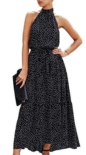 PRETTYGARDEN Women's Casual Halter Neck Sleeveless Floral Long Maxi Dress Backless Loose Ruffle Sundress with Belt Black