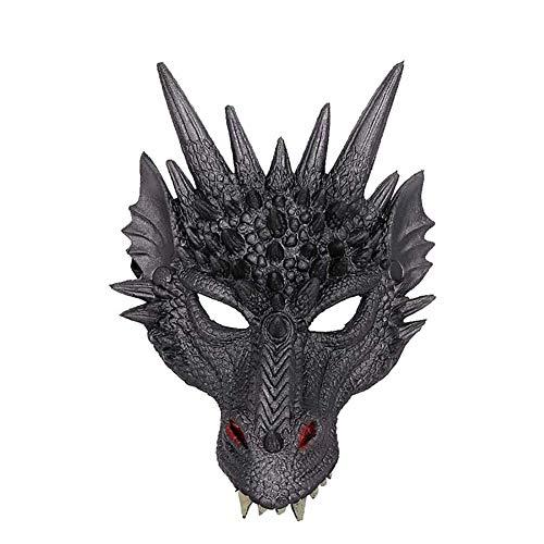 Nikgic. Drachenmaske 3 dimensional Masken Halloween-Maske Party Maske PU Party-Fotostütze 21 * 30 cm Schwarz