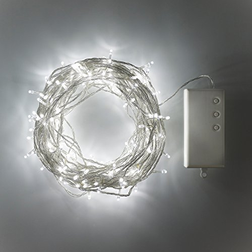 Lights4fun Guirlande Lumineuse de 200 LED Blanches pour Extérieur à Piles sur Câble Transparent