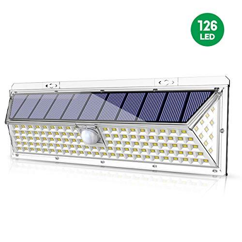 VOSONX Solar Lights Outdoor - 126 LEDs Solar Powered Security Lights, Wireless Light Sensor & Motion Sensor Light, IP65 Waterproof Outdoor Wall Lights with 270° Wide Angle for Front Door, Garage, Yard