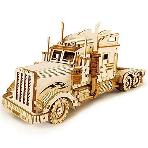 Maqueta Mecanica de Camion en Madera Puzzle 3D Rompecabezas Corte Laser Modelo Ensamblar Niños Jovenes Adultos