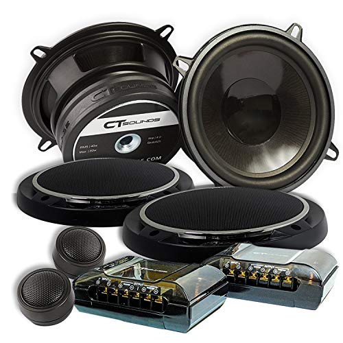 """CT SOUNDS 5.25 Inch Car Audio Component Speakers Set - 2-Way Full Range, 0.75"""" Voice Coil, 19mm Silk-Dome Tweeter, 240W Peak Power, Rubber Surround Cone with Protection Grills - Strato 2-Way 6.5 Inch"""