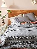Flber Grey Duvet Cover Queen Comforter Cotton Tassel Quilt Cover Boho Bedding (Gray 86in90in)
