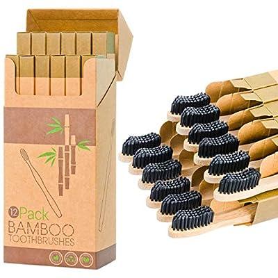 12 Individual Pack Premium Bamboo Toothbrush-All Natural Organic Waveform Toothbrushes with Charcoal Infused BPA Free Medium Bristles, Teeth Whitening, Biodegradable Eco Friendly, Vegan, Kooler-Things