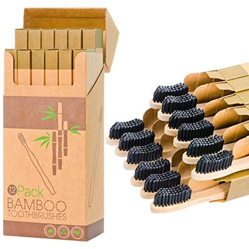 12 Individual Pack Premium Bamboo Toothbrush-All Natural Organic Waveform Toothbrushes with Charcoal Infused BPA Free Medium Bristles, Teeth Whitening, Biodegradable Eco Friendly, Vegan, Kooler-Things