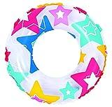JILONG-JL-47219U - Bouée Gonflable - Anneau Coloré Étoiles, Ronds ou Fleurs - Diamètre 50 cm