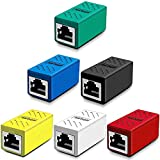 Greluma 6 Piezas Acoplador RJ45, Acoplador de Red, Conectores Ethernet, Acoplador en línea Blindado para Conector Extensor de Cable Ethernet Cat7/Cat6/Cat5e/Cat5 - Hembra a Hembra (6 Colores)