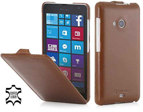 StilGut® UltraSlim Case, Hülle aus Leder für Microsoft Lumia 535/535 Dual SIM, Cognac