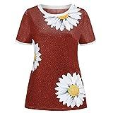 Camiseta con Estampado De Margaritas, Cuello Redondo, Camisetas Sueltas De Manga Corta, Ropa Informal De Verano para Mujer