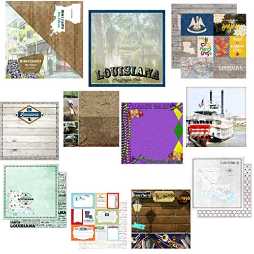 """Custom Bundle Set of 11 New Orleans Louisiana Themed Travel and Vacation 12"""" x 12"""" Scrapbook Papers - from Various Vendors"""