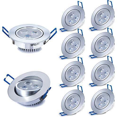 Liqoo 10 x 3W LED da incasso, Faretti da incasso, Lampada da soffitto, Lampada a risparmio energico Bianco AC 85-265V 300 Lumen 6000K con trasformatore