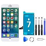 Hoonyer - Pantalla para iPhone 7, color blanco completo, repuesto de pantalla LCD táctil con kit de reparación para iPhone 7
