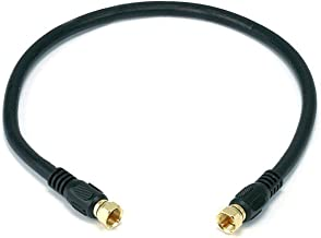 Monoprice RG6 Quad Shield CL2 Coaxial Cable with F Type Connector, 1.5Ft, Black