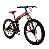 LOOCHO 21 Speed Foldable Mountain Bike 26 Inches 3-Spoke Wheel Dual Suspension Dual Disc Brake MTB Tire Bicycle (red)