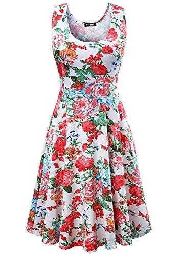 Damen Vintage Sommerkleid Traeger mit Flatterndem Rock Blumenmuster, Weiß, Gr. X-Large / EU 42