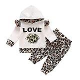 Conjunto de 2 piezas de ropa de manga larga con capucha de leopardo para bebés, niños y niñas, 0 – 18 m