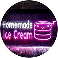 Home Made Ice Cream Illuminated Dual Color LED看板 ネオンプレート サイン 標識 白色 + 紫 300 x 210mm st6s32-i0518-wp