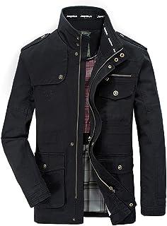 Chaqueta fina para hombre (primavera, otoño, con varios bolsillos), color negro