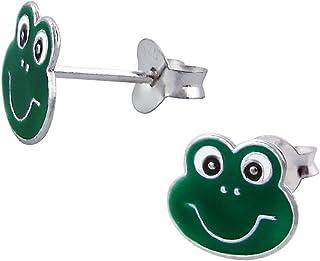 Laimons Kids Orecchini a pressione per bambini gioielli per bambini Rana Verde Argento Sterling 925