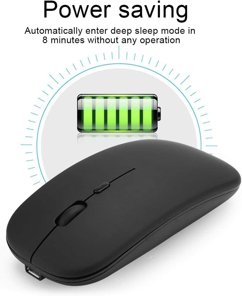 Black awstroe 2.4G Mouse for Vista for Windows Rechargeable Mice with Power Saving Function Bluetooth Mice