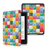 UUcovers Case for All-New Kindle Paperwhite (10th Generation, 2018 Release) Slim Shell Lightweight Premium PU Leather Cover with Auto Sleep/Wake for Amazon Kindle Paperwhite E-Reader, Color Grid