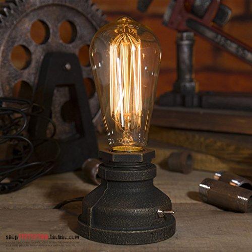 wshfor Retro Vintage Tischlampe - Loft Steampunk Wasser Rohr Antike E27 Glühbirne Industrielampe Lampe aus Metall ( Color : Dimmer switch )
