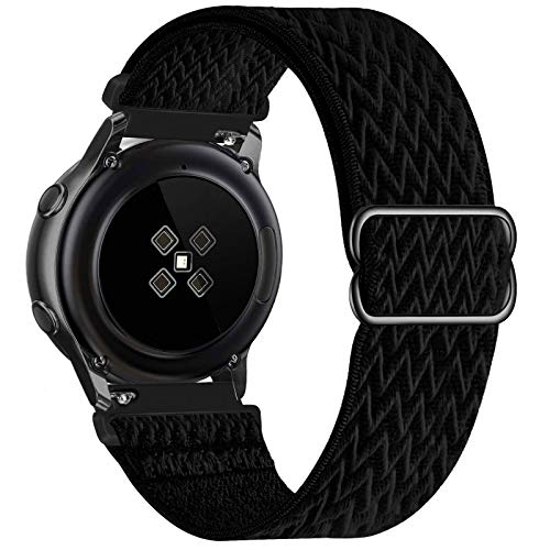 UHKZ 20mm Nylon Elastic Watch Bands Compatible with Samsung Galaxy Watch 3 41mm/Galaxy Watch 42mm/Active 40mm/Active 2 40/44mm/Gear S2,Adjustable Fabric Breathable Stretchy Wristband,Black