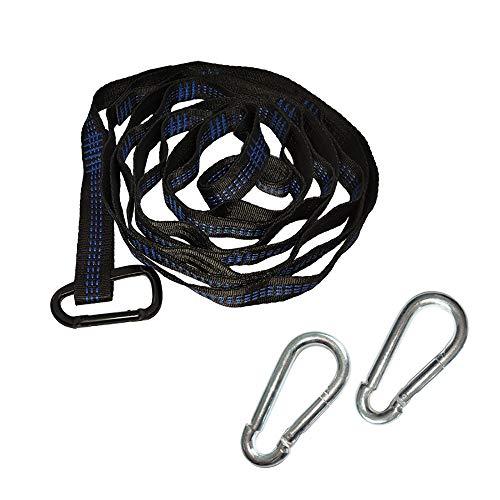 Hängematte Krawatte Seil Hängematte Gurt Outdoor Karabiner Hängen Netz Krawatte Baum Seil 18 Knoten 2,8 m + schwarzer Karabiner.