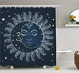 EdCott Sonne & Mond Duschvorhang mit Halbmond Mond Mitternacht Kunst himmlischen Thema Sonne Dekoration Raumdekoration zu Hause leicht zu reinigen wasserdicht Duschvorhang Schieferblau