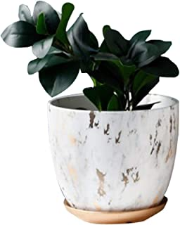 Marble Plant Pot, 8.26 inch Modern Nordic Style Ceramic Marble Look Scrub Pots for Plants-Plant Pots Indoor with Drainage Hole and Ceramic Tray for Succulents/Plants/Flowers