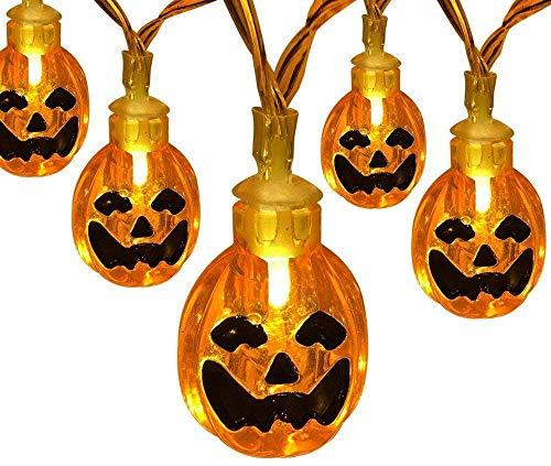 Luces de La Secuencia de la Calabaza de la Decoración de Halloween Luces de Secuencia al Aire Libre 6m 40 Blanca Cálida Lámpara Calabaza para Navidad Decoración de Fiestas Jardín
