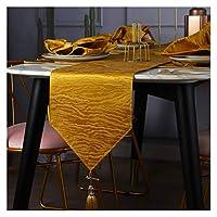 テーブルランナー タッセル付きテーブルランナー北ヨーロッパポリエステル綿テーブルランナー家族の夕食、農家、結婚披露宴の休日の装飾(Color:黄,Size:30x200cm)