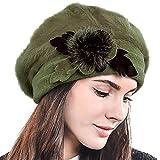 HISSHE Women Classic French Artist Wool Beret Angora Beanie Winter Hat BR022 (Green)