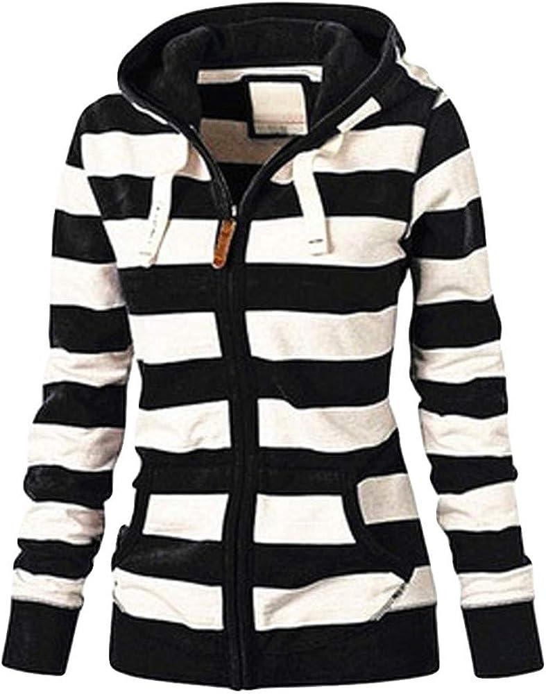 Hotkey Womens Plus Size Coat, New Ladies Striped Zipper Hooded Sweatshirt Winter Slim Hoodie Lightweight Pocket Jacket