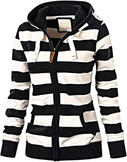 Meikosks Women's Zipper Hooded Sweatshirt Stripe Print Coat Jacket Ladies Casual Hoodie Tops