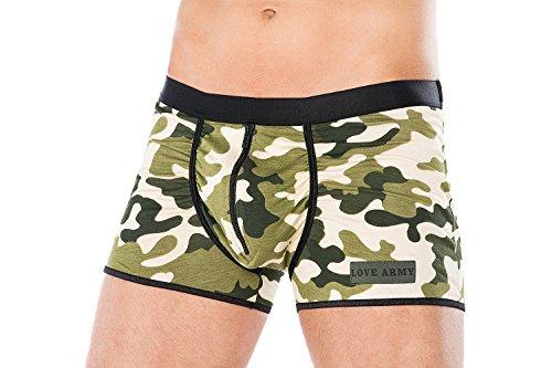 .Andalea Herren Dessous Boxershort grün weiß aus Baumwolle mit Armee-Muster Männer Unterwäsche Größe: 4XL/5XL