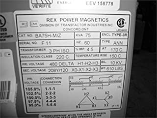 Rex Power Magnetics Ba75h-M/Z Green Star Energy Efficient Transformer Ba75h-M/Z