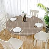 Cozomiz Elastische Tischdecke Gartentischdecke Rundtischdecke wasserdichte rutschfeste Abwischbar Schmutzabweisend Tischdecke 100cm Runde Enge Passform Grid Kaffee